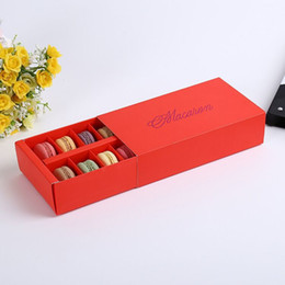 Wholesale 12 Cups Paper Macaron Box Packaging Drawer Type Biscuit Pastry Chocolate Cake Boxes For Wedding Party Gift wen4727