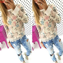 Wholesale Women Tops New Fashion Tees Lace Rim Printed Floral T shirt Manteau Blusas Casual Sweatshirts O Neck Rose T shirts SV029136
