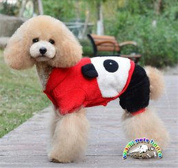 Cute Dog Jumpsuits Canada - Poodle winter coat new panda designs short plush red dog overall dogs jumpsuit pet chien cute dog clothes mascotas perros clothing WD05