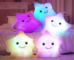 christmas pillows Canada - Wholesale-HOT Colorful LED stars, LED light pillow,plush pillow, Christmas toys