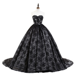 $enCountryForm.capitalKeyWord NZ - Really Photo Full Black Lace Sweetheart Backless Lace Up Embroidery Ball Gown Court Train Sleeveless Long Prom Party Dress Evening Gown