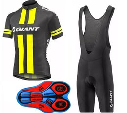 Giant bike jersey bib shorts online shopping - 2017 Giant New Cycling jersey bib shorts set men Fluo yellow and black Bicycle Breathable sportswear cycling jersey Bike Clothing summer