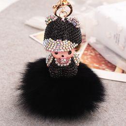 Luxury Baby Gifts NZ - Lovely key chain luxury crystal baby girl hat pendant key ring keychain birthday gift rabbit fur ball keychain