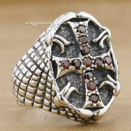 $enCountryForm.capitalKeyWord Canada - Red CZ Stone 925 Sterling Silver Mens Biker Ring 9G004A Mens Jewellery US Size 8.75