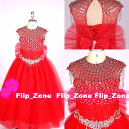 Habillement D'enfants Bon Marché Pas Cher-Image Real Pageant Robes Pour Les Adolescents Enfants Bijou Cristaux De Perles Glands Robes De Fille De Fleur Rouge Sash Retour Lace Up Bow Robe Communion Pas Cher