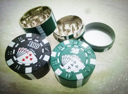 "Chip Wholesale Cigarettes Canada - 2016 Zinc Alloy Poker Chip Herb Grinder 1.75"" 3pc Spice Grinder Tobacco Grinder 3 Colors 3-layer Poker Herb Smoke Cigarette Grinder"