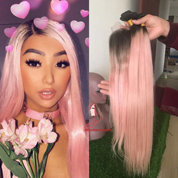 Pink ombre weft online shopping - dark roots b Pink Hair Weave bundles with lace closure ombre Pink human Hair bundles With Closure