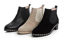 Short loop online shopping - runway b056 genuine leather chain low heel short boots