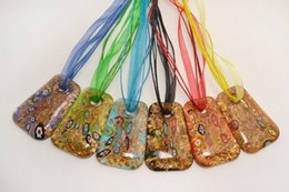 $enCountryForm.capitalKeyWord UK - wholesale 6pcs handmade mix color Italian venetian Transparent Square Millefiori Lampwork murano glass pendant 3+1 silk necklaces nl0174m*6