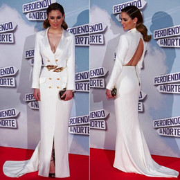 $enCountryForm.capitalKeyWord NZ - Blance Suarez White Satin Sexy Red Carpet Celebrity Dresses Deep V-neck Long Sleeve Zuhair Murad Formal Evening Gowns Prom Dress Gold Sash