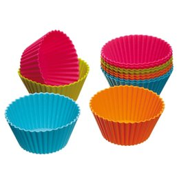 Round Kitchen Sets Australia - Wholesale- 6pcs set Cupcake Liners Mold 7CM Muffin Round Silicone Cup Cake Tool Bakeware Baking Pastry Tools Kitchen Gadgets