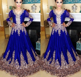 gatsby gowns NZ - 2020 New Royal Blue Evening Dresses Lace Jewel Neck Appliques Abaya in Dubai Kaftan Muslim Embroidery Long Sleeves Party Great Gatsby Gowns