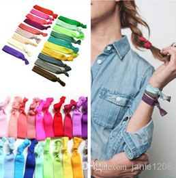 stretchy ponytails 2019 - Fashion Gifts 20 Colors Mixed Multicolour Ponytail Holders New Knotted Ribbon Hair Tie Stretchy Elastic Headbands Kids W