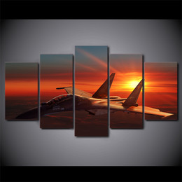 Discount aircraft paintings - 5 Panel HD Printed Framed Aircraft Setting Sunset Wall Canvas Art Modern Print Painting Poster Picture For Home Decor Ar
