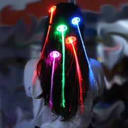 $enCountryForm.capitalKeyWord Canada - Flash light emitting braids braided fiber optic wire braid hairpin LED light hair fiber colorful braids