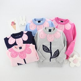 Coreano Lindo Niños Niñas Baratos-Everweekend Girls Floral Suéter de punto Cute Baby Candy Color Tees Lovely Kids Korean Fashion Autumn Tops