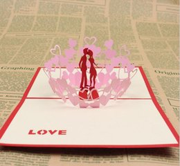 $enCountryForm.capitalKeyWord Australia - 10pcs Hollow Groom Kiss Bride Handmade Kirigami Origami 3D Pop UP Greeting Cards Invitation Postcard For Wedding Party Gift
