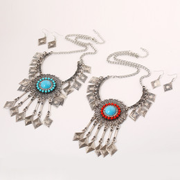 $enCountryForm.capitalKeyWord Australia - Bohemian Rhinestone Resin Gem Big Flower Rhombus Tassel Necklace Earring Set Ethnic Geometric Jewelry Set
