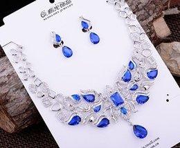 Wedding Crystal Bride Necklace Set Canada - more color crystal wedding bride necklace earrings set woniu152) derer