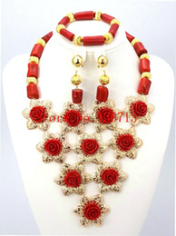 Indian Coral Beads Canada - Free Shipping! 2016 Fashion Red Coral Beads Jewelry Set Charms Red Twisted Strands African Jewelry Set High Quality GD101-1