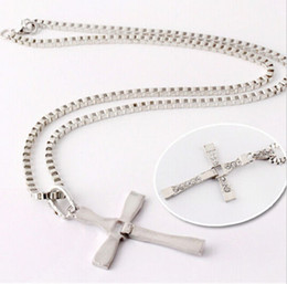 $enCountryForm.capitalKeyWord Australia - Men Silver Stainless Steel Cross Pendant Necklace Chain Gift Present for Party Brand New Good Quality Free Shipping