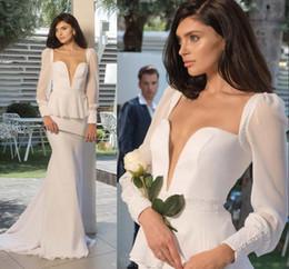 sheath wedding dresses 2019 - 2016 Vintage Long Sleeves Wedding Dresses Deep V Neck Sheath Long Bridal Gowns With Peplum Pure White Wedding Dress 2015
