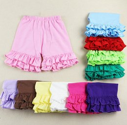 Wholesale DHL Free Ship Baby Girls cotton ruffled short pants KidsToddlers Children Baby Kids Girls TUTU underpants bloomers baby wear colors