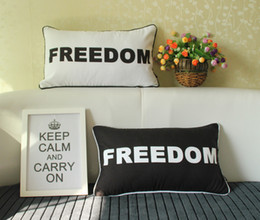 Car Sofa Couch Canada - FREEDOM Love Cushion Cover English Letters Black And White Cushions Pillows Covers Decorative Pillow Case For Car Sofa Couch Seat