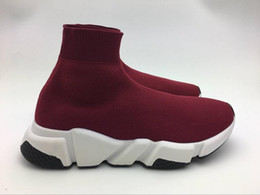 online shopping TOP qquality Paris Designer Speed Trainer Stretch Knit Mid Black White Sneakers Breathable Socks Shoes Men and women Casual Shoes