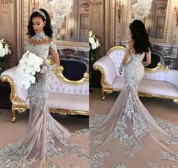 vintage chic wedding dresses 2019 - 2017 Chic Luxury Beaded Appliqued Mermaid Wedding Dress Vintage Arabic Sheer Long Sleeves High Neck Bridal Gown Plus Siz