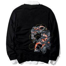 China Coat Xl Canada - Wholesale new tide brand China wind carp loose fitting long sleeved coat embroidered hoodies jacket coat