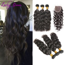 Natural Human Hair Weave Australia - 8A Unprocessed Brazilian Water Wave Human Hair Weave bundles with closure Natural Black Color brazilian water wave can be dyed
