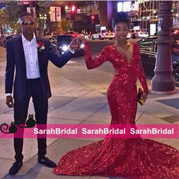 Barato Festa Quente Usa-Mais vendidos Bling Red Sequined Mermaid Prom Vestidos para meninas africanas Venda Hot Long Sleeves Shine Evening Ocasião Vestidos Bridal Party Wear