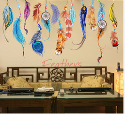 Tv Wall Decor Arts Canada - Colorful Feather Wall Art Mural Poster Decor Creative Long Feather Earrings Wallpaper Decal Sticker Living Room TV Sofa Background Art Decal