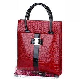 free tote bag patterns 2019 - Wholesale- Good quality stone pattern women handbags over shoulder patent leather bags red black lady briefcase bolsos f