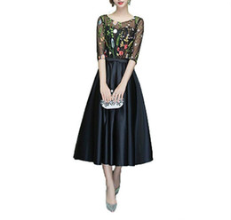 Chinese  Modest Half Sleeve Illusion Sheer Evening Dresses Ball Fashion Embroidery 2018 Short Homecoming Party Prom Dresses Gowns Robe De Soiree manufacturers