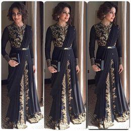 $enCountryForm.capitalKeyWord Canada - Dubai Abaya Robe De Soiree Gold Emboridery Kaftan Arabic A Line Long Sleeve Black Evening Dress