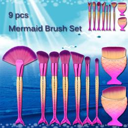 big makeup sets 2019 - 9 Pcs Mermaid Shape Makeup Brush Set Big Fish Tail Foundation Powder Eyeshadow Make Up Brushes Contour Blending Cosmetic