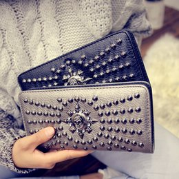 Wholesale 2016 mode Skull Clutch Wallet Holder Lady Purse Rivet Femmes Portefeuilles bourse Card Design Longue Porte monnaie