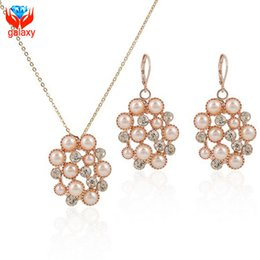 Opal Crystal Necklace Canada - New Trendy 18K Rose Gold Plated Fashion Opal Cat Eye Stone Crystal Pendant Necklace & Drop Earrings Jewelry Sets for Women ZS097
