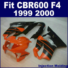 Full Fairing Honda Cbr Canada - 100% Injection molding parts full fairing kit for HONDA CBR 600 F4 1999 2000 orange black 99 00 CBR600 F4 bodykits NUJG