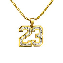 China 31inch simple crystal basketball superstar Letter 23 pendent necklaces 18k gold plated fancy necklace hip hop Jewelry accessories supplier snake basketball suppliers