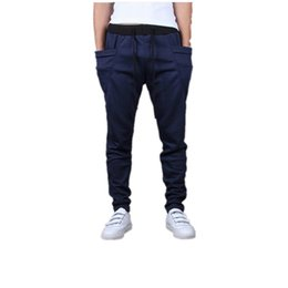 Pantalon De Harem Empoché Pas Cher-Vente en gros-2017 Mode Extérieur Casual Hommes Pantalon Vente Chaude Unique Grande Poche Hip Hop Harem Pantalon Fitness Vêtements Qualité Outwear Casual M