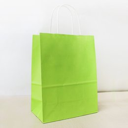 Plain Paper Print NZ - 27*21*11cm Brilliant Green Paper Shopping Bag With Handle,130gsm Kraft Paper Bag, Can OEM Customized Printing Logo, Free Shipping