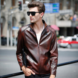 Barato Casacos De Couro Genuíno-2015 New Arrive Fall Motocicleta Mens Jackets Famous Brand Genuine PU Leather Jacket Coat Cool Punk Style, Plus Size 3XL FG1511