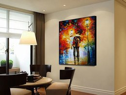 $enCountryForm.capitalKeyWord Canada - Romantic street lamp pure hand painted high quality modern simple home decoration style canvas painting palette knife painting JL005