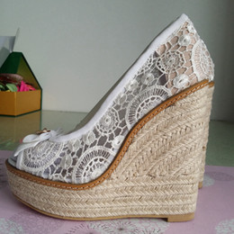 High Style Sandals Canada - 2015 Lace Wedding Shoes Summer Style Women Sandals Wedges High Cheap Modest Bow Fashion Plus Size Bridal Shoes High Platform Zapatos Mujer