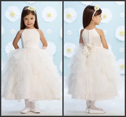 Robes De Ballet Halter Pour Enfants Pas Cher-Custom Ivory Mode Ruffles Tulle Ball Gowns Fleurs à la main Elegant Longueur de la cheville Halter Neck Sweet Robes Filles Little Kids Wear Tiered