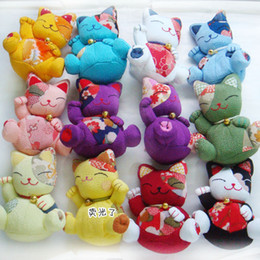 Wholesale-Japanese Chirimen Lucky Cat Dolls car decoration Gifts plush toy 12styles from wallet key ring manufacturers