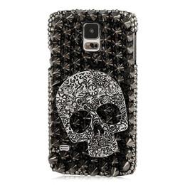 Rhinestone Case For S5 NZ - 3D Handmade Crystal Sparkling Skull Black Rhinestone Diamond Bling Cover Case for Samsung Galaxy S5 I9600 , Free Shipping